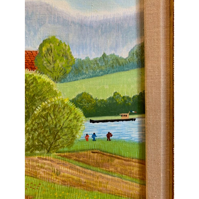 """1970s Andre Bouquet Painting """"Village De l'Ite Au France"""" For Sale In Tampa - Image 6 of 11"""