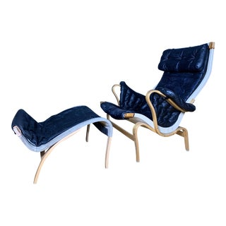 "1970s Vintage Bruno Mathsson ""Pernilla"" Lounge Chair + Ottoman For Sale"