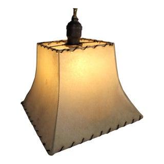 Vintage Brass and Steel Fiberglass Shade Ceiling Light