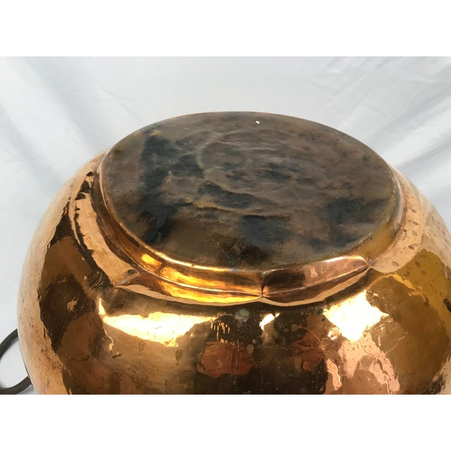 Copper 20th Century Traditional Hammered Copper Kettle Cauldron For Sale - Image 8 of 9