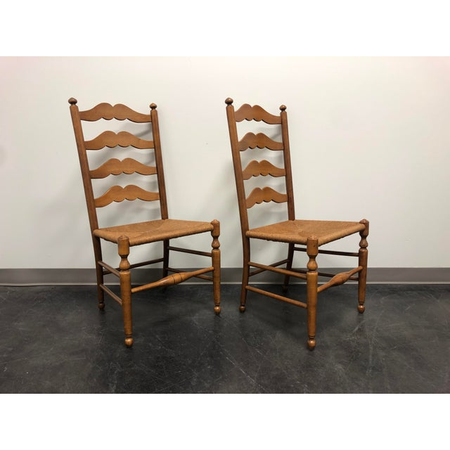 British Colonial Ethan Allen Ladder Back Rush Seat Dining Side Chairs - Pair 1 For Sale - Image 3 of 10