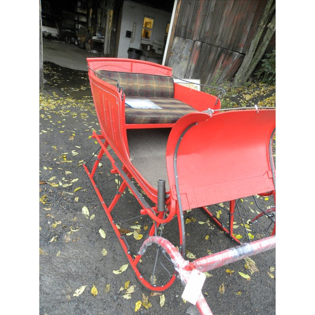 Interior Design Antique Holiday Sleigh Red Sled - Image 3 of 10