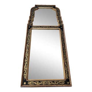 1930s Asian Chinoiserie Gold Guilt Pagoda Floor Mirror For Sale