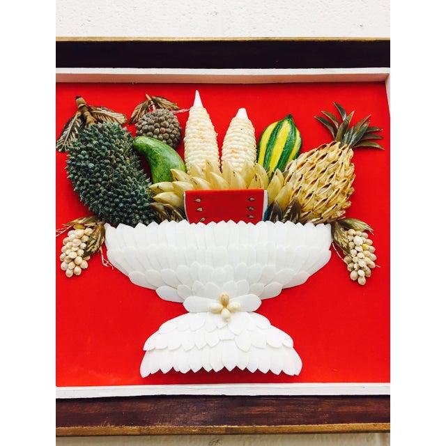 Folk Art Vintage Folk Art Seashell Fruit Basket Painting in Frame For Sale - Image 3 of 11