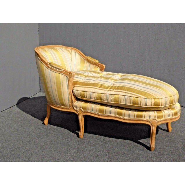 Vintage Baker French Provincial Gold Chaise Lounge Goose Down Cushion For Sale - Image 11 of 11