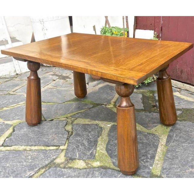 Organic Oak Coffee Table with Massive Legs For Sale - Image 6 of 7