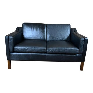 Vintage Borge Mogensen Mid Century Danish Modern Leather 2 Seat Sofa, Black For Sale