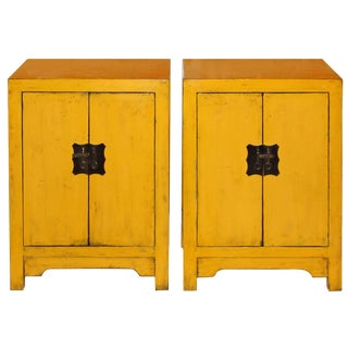 Asian Modern Yellow Side Chests - a Pair For Sale
