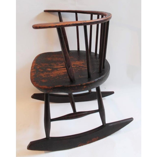 Mid 18th Century Rare 18th Century Low Back Original Red Painted Windsor Rocking Chair For Sale - Image 5 of 10