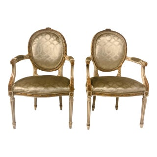 Giltwood French Arm Chairs, a Pair For Sale