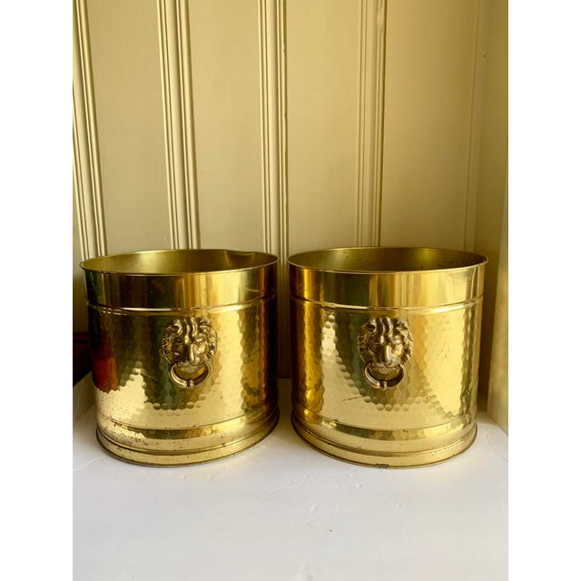Asian Gold Metal Lion Head Vessels, Set of Two For Sale - Image 3 of 13