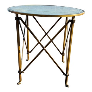 Speckled Glass Table With Antique Brass Lions Feet For Sale