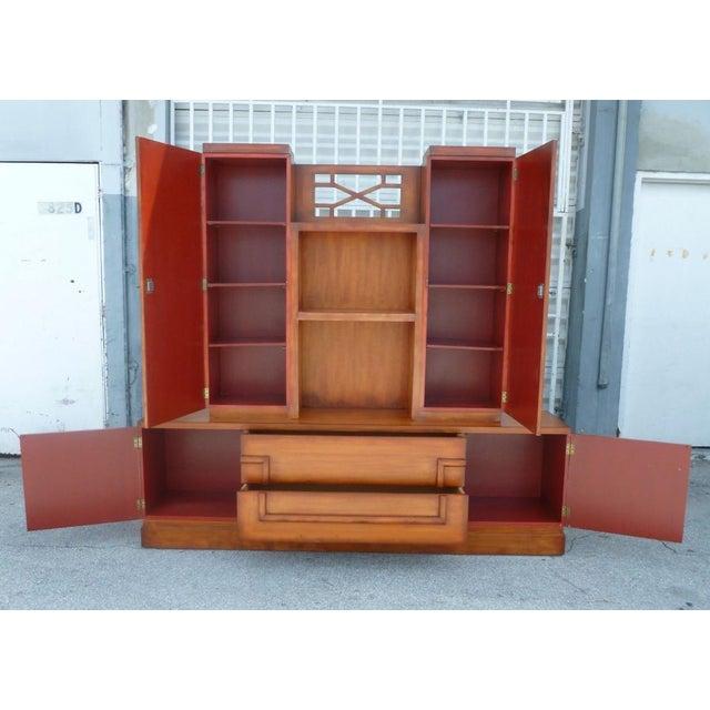 Wood 50's Hollywood Regency James Mont Coromandel Red Cabinet For Sale - Image 7 of 11