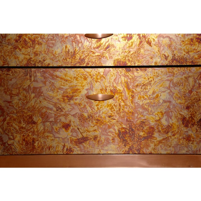 Copper Patinated Copper Sheet Clad Nightstands or Chests - a Pair For Sale - Image 8 of 13