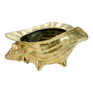 Mid 20th Century Solid Brass Conch Shell Dish For Sale