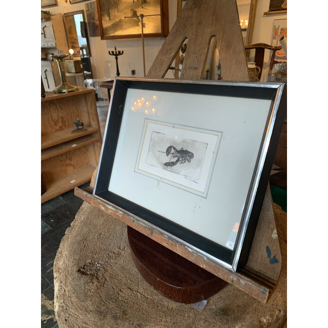 Lovely lobster print in a silver and black wood frame. Incredible detail!