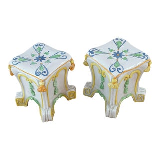 Italian Ceramic Garden Stools - a Pair For Sale
