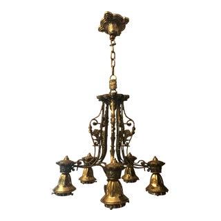 Vintage Brass Scrolled Chandelier For Sale