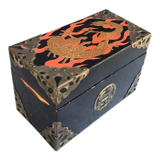 Lacquered Asian Dragon Box W/ Brass Detail For Sale