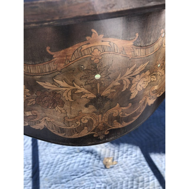 Louis XV Style Mahogany and Satinwood Marquetry Inlaid Center Table For Sale - Image 11 of 13