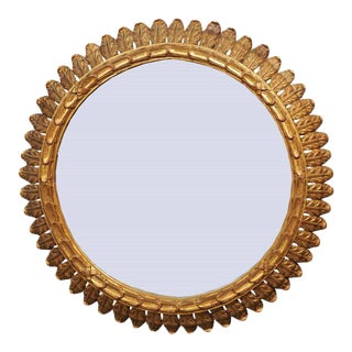 French Round Giltwood Mirror with Carved Waterleaves and Clear Glass, circa 1950
