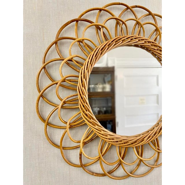 Vintage French Rattan Mirror For Sale - Image 4 of 6