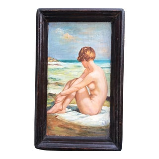 Antique Wood Tray W/ Nude Painting For Sale