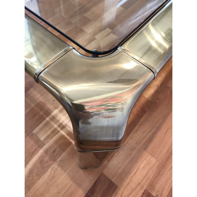 1970s Modern Mastercraft for Baker Brass Glass Cocktail Coffee Table John Widdicomb For Sale - Image 6 of 7