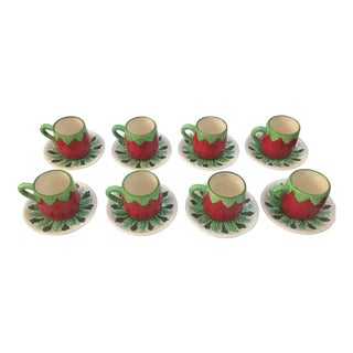 1950s Ceramic Les Fraises or Christmas Eapresso or Childs Set Cups and Saucers ~8 For Sale