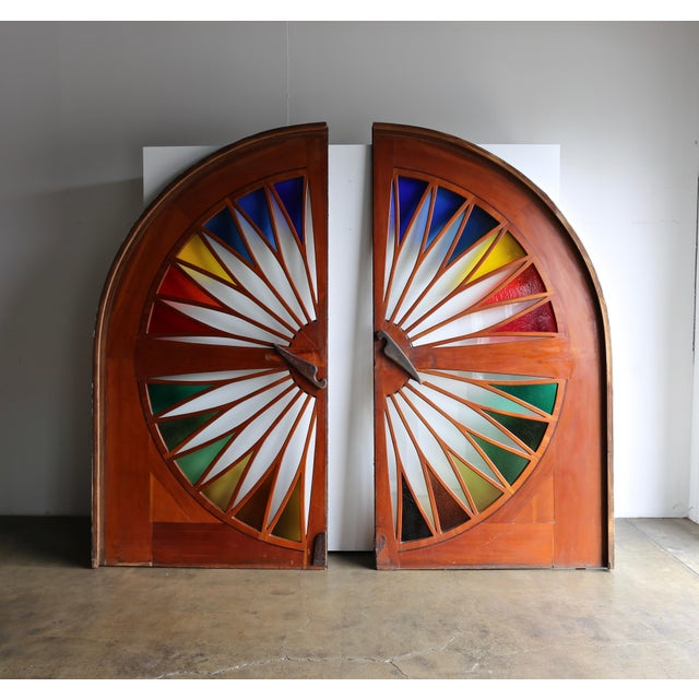 Wood Monumental Stained Glass Sliding Doors Circa 1970 - a Pair For Sale - Image 7 of 13