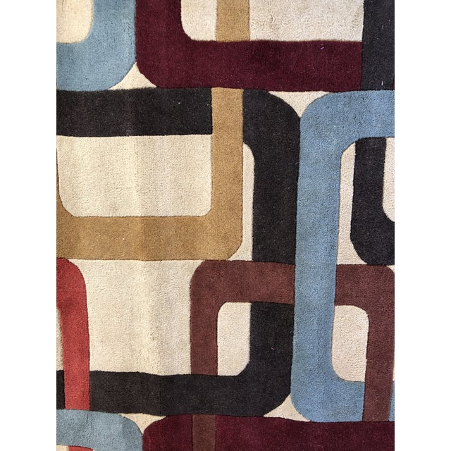 2000s Mid-Century Inspired Hand Tufted Surya Wool Rug - 8′ × 11′ For Sale - Image 5 of 8