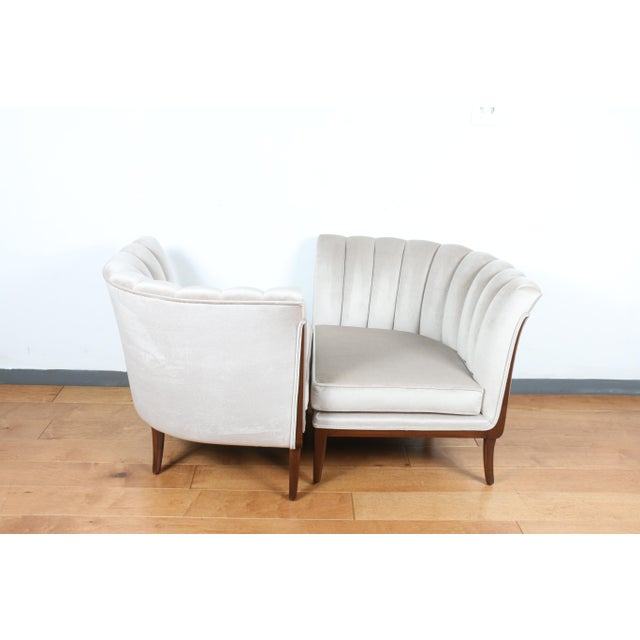 Mohair Hollywood Regency Pair of Chairs For Sale - Image 9 of 13