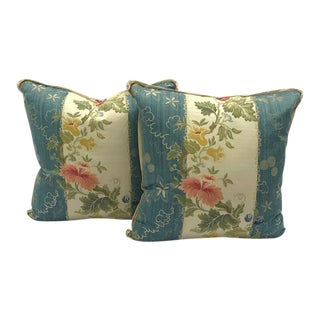 Scalamandre Embroidered Silk Lampas Down / Feather Pillows - A Pair For Sale