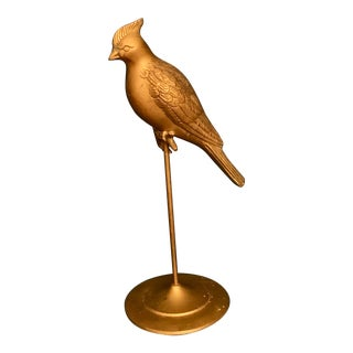 Vintage Brass Cardinal Bird on a Perch For Sale