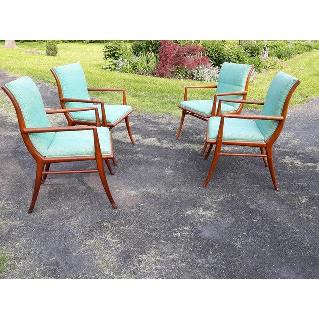 Vintage Mid Century T.H. Robsjohn Gibbings for Widdicomb Saber Leg Armchairs- Set of 4 For Sale - Image 6 of 13
