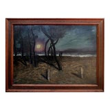 """Image of """"Pacific Grove Moonlight"""" Landscape Oil Painting For Sale"""
