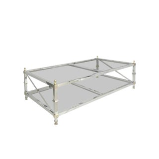 1950s Hollywood Regency Maison Jansen Style Chrome and Brass Coffee Table.