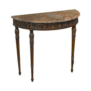 French Louis XVI Style Demilune Marble Top Console Table For Sale