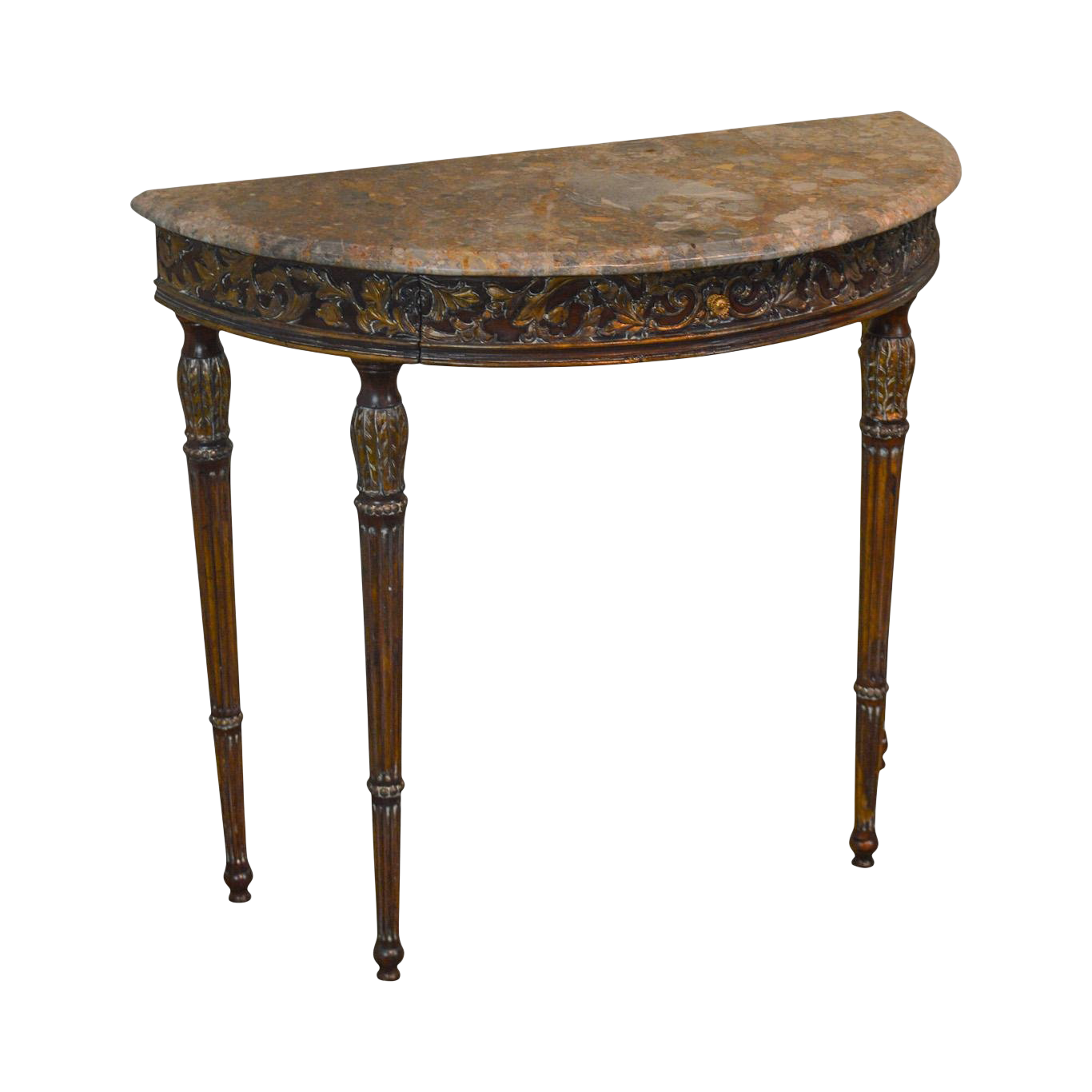 French Louis XVI Style Demilune Marble Top Console Table