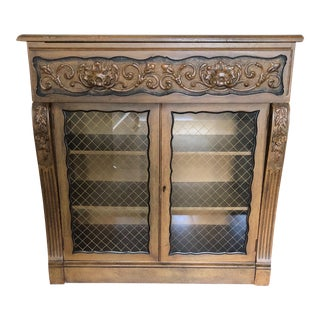Credenza With Drop Down Leather Shelf & Glass Doors For Sale