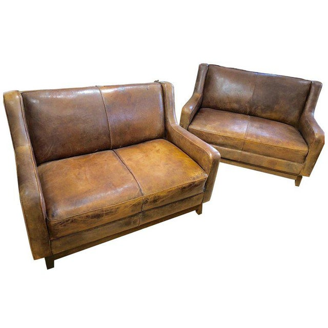 French Distressed Leather Sofas Loveseats - a Pair | Chairish