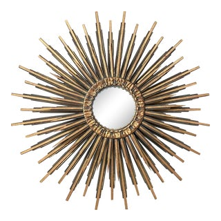 Mid Century Italian Gilt Wood Sunburst Convex Mirror For Sale
