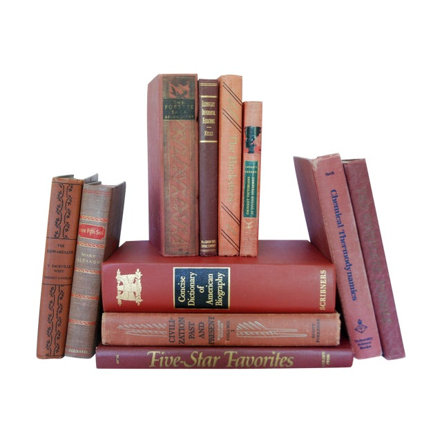 Vintage Red Decorative Book Set of 11 - Image 1 of 3
