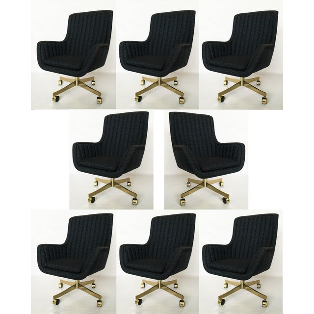 Set of Eight Ward Bennett for Brickel Associates Swivel Chairs For Sale - Image 10 of 10