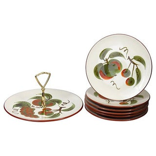 Vintage Stangl Hand-Painted Dessert Set - Set of 7 For Sale