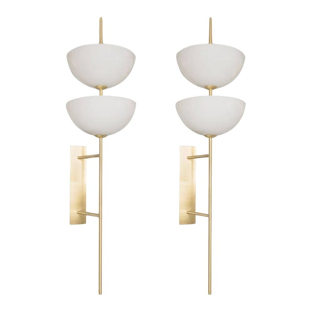 Monumental Murano Milk Glass and Brass Reverse Dome Trophy Sconces - a Pair For Sale