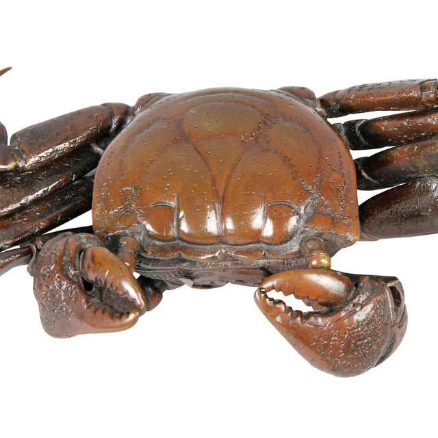 Art Deco Japanese Meiji Articulated Bronze Crab For Sale - Image 3 of 10