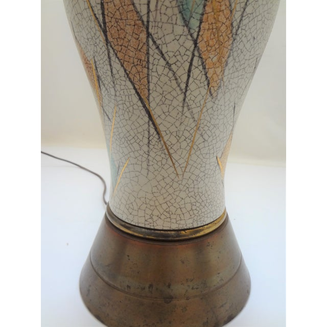 Mid-Century Modern Tall Crackle Ceramic Table Lamp For Sale In Phoenix - Image 6 of 10