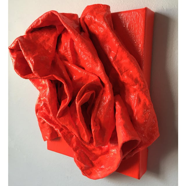 """Chloe Hedden """"Fluorescent Grenadine Folds"""" Mixed Media Wall Sculpture For Sale - Image 4 of 8"""