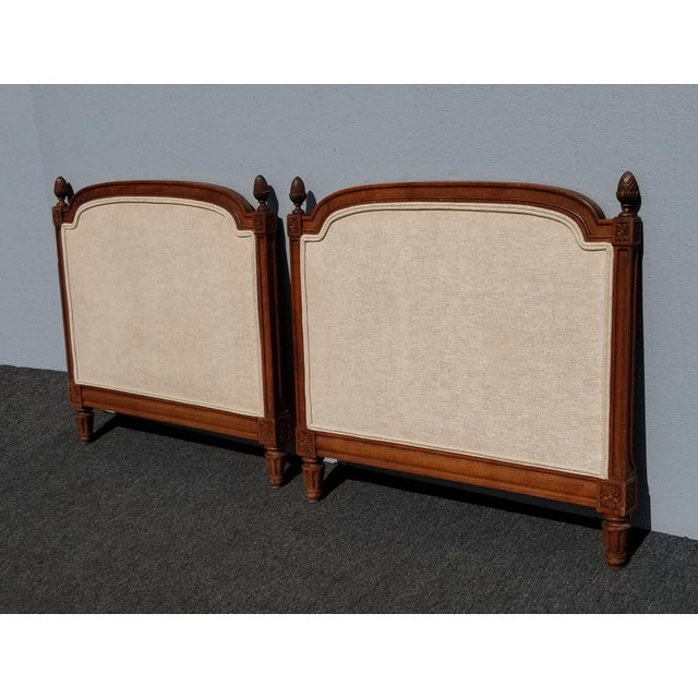Pair of Vintage French Country Tan Twin Headboards Gorgeous Headboards in Great Vintage Condition. Solid and Firm. Wear is...
